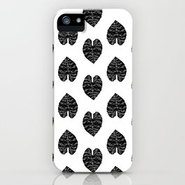 Leaf tropical linocut blockprinted stamp leaves black and white minimal modern pattern art print iPhone Case