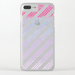 Modern abstract pink teal lilac watercolor stripes Clear iPhone Case