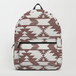 Terracotta clay & white brushed tribal kilim pattern Backpack