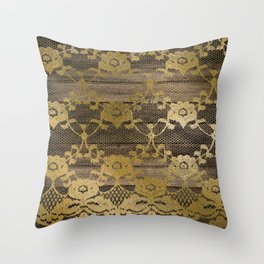 Brown Faux Wood Gold Floral Faux Lace Throw Pillow