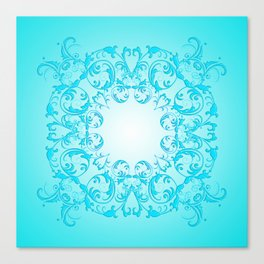 Baroque style turquoise floral texture Canvas Print