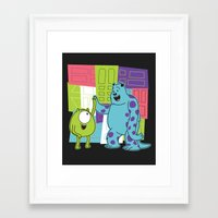 monster inc Framed Art Prints featuring Monster Time by Moysche Designs