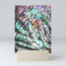 Glowing Cotton Candy Pink & Green Abalone Mother of Pearl Mini Art Print