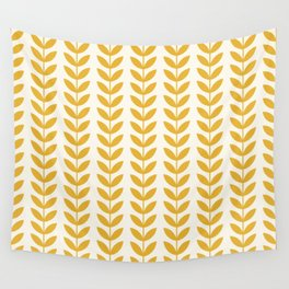 Scandinavian Mid Century Pattern Yellow Wall Tapestry