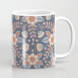 Slate Blue, Cream & Peach Floral Pattern - Pastel Flowers & Leaves Coffee Mug