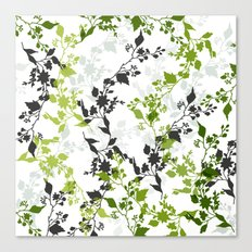 Branches and Leaves in Cobalt Grey and Green Canvas Print