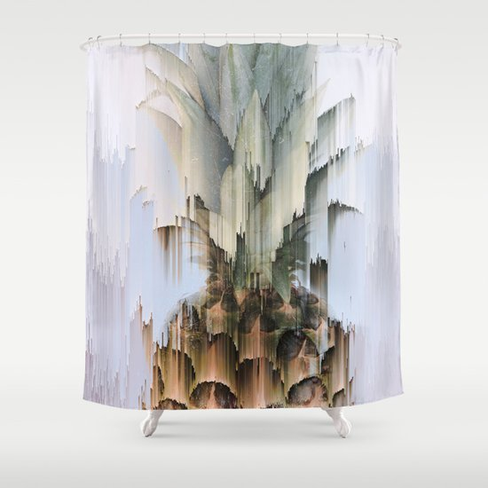 glitch pineapple shower curtain