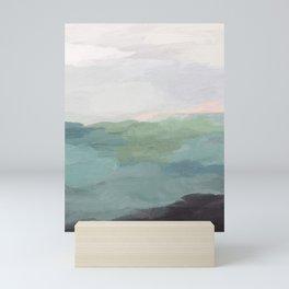 Seafoam Green Mint Black Blush Pink Abstract Nature Land Art Painting Art Print II Mini Art Print