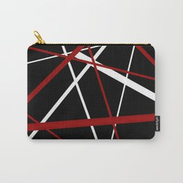 Red and White Stripes on A Black Background Carry-All Pouch