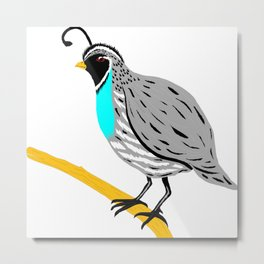 Quail On A Branch Metal Print