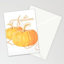 Golden Orange Autumn Pumpkins Stationery Cards