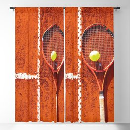 Tennis racket with ball on tennis court Blackout Curtain
