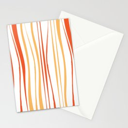 Orange Crooked Lines Pattern Stationery Cards