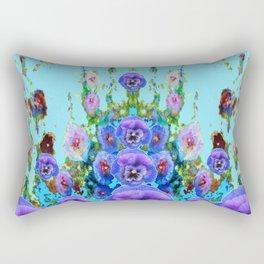 MODERN BLUE WESTERN GARDEN  PURPLE PANSY FLOWERS Rectangular Pillow