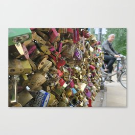 Paris Love Lock Bridge  Canvas Print