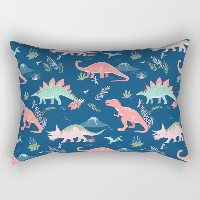 Jurassic Dinosaurs on Blue Rectangular Pillow