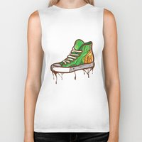 sneaker Biker Tanks featuring Green Sneaker by ArievSoeharto