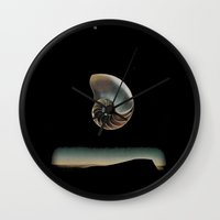 dark side of the moon Wall Clocks featuring DARK SIDE OF THE MOON by Mitch Meseke