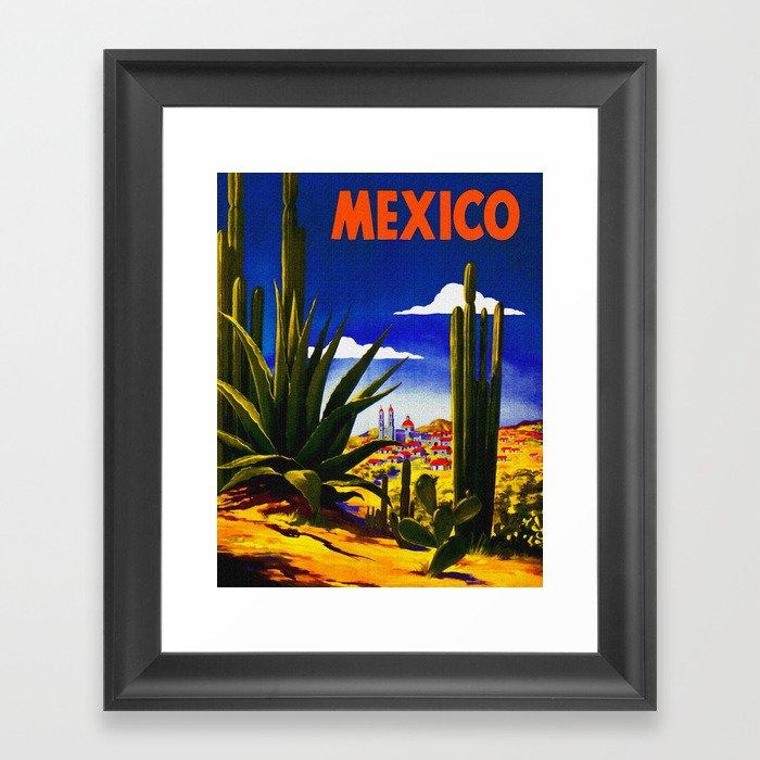 Vintage Mexico Village Travel Gerahmter Kunstdruck