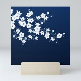 Navy Blue White Cherry Blossoms Mini Art Print