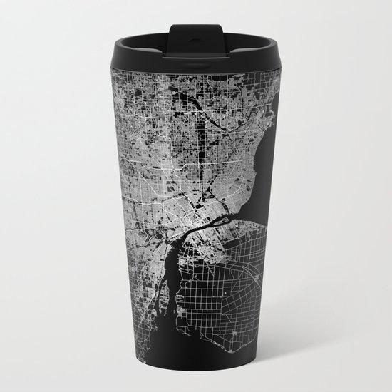 Detroit map  Metal Travel Mug