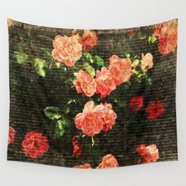 Vintage roses and scripts Wall Tapestry