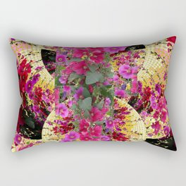 CORAL PINK & HOLLYHOCKS ABSTRACT GARDEN Rectangular Pillow