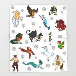 RPG Fantasy Creatures, Monsters and dice Throw Blanket