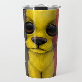 Cute Puppy Dog with flag of Belgium Travel Mug
