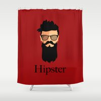 hipster Shower Curtains featuring Hipster  by Tony Vazquez