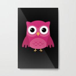 Cute Owl Pink Metal Print