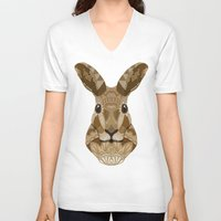 hare V-neck T-shirts featuring Ornate Hare by ArtLovePassion