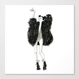 Asian girl in a fake fur coat Canvas Print