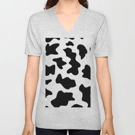 black and white ranch farm animal cowhide western country cow print Unisex V-Neck