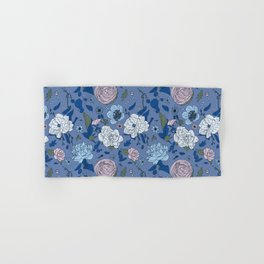 Lovely Seamless Floral Pattern With Subtle Poodles (Hand Drawn) Hand & Bath Towel