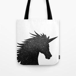 Black Glitter Unicorn Tote Bag