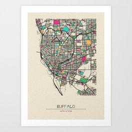 Colorful City Maps: Buffalo, New York Art Print