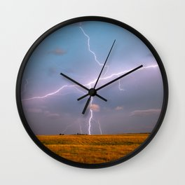 Electric Sky - Lightning Spans Entire Sky in Southern Oklahoma Wall Clock