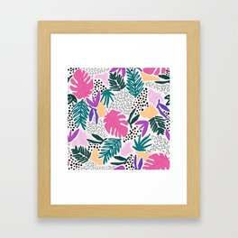 Tropical Colourful Collage Pattern Framed Art Print
