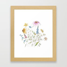 wild flowers and blue bird _ink and watercolor 1 Framed Art Print
