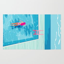 In Deep - memphis throwback swimming athlete palm springs resort vacation country club infinity pool Rug