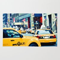 taxi driver Area & Throw Rugs featuring Taxi by Larry Bierce