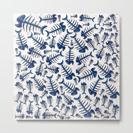 Blue Fish Bones on a Lonely Beach Metal Print