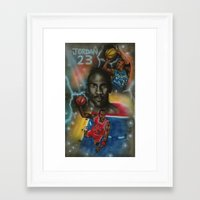 air jordan Framed Art Prints featuring Air Jordan by DaeSyne Artworks