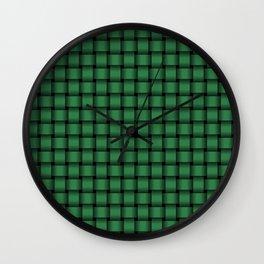 Small Dark Green Weave Wall Clock
