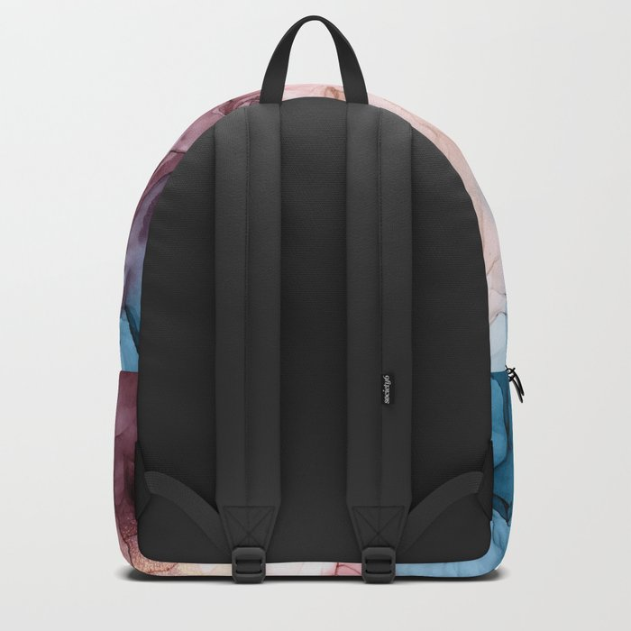 Pastel Plum, Deep Blue, Blush and Gold Abstract Painting Rucksack