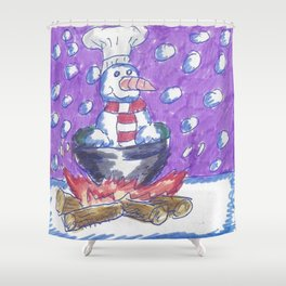 Christmas #4 Snow Cannibalism Shower Curtain