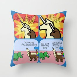 They Fight Crime (Horned Warrior Friends) Throw Pillow