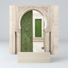 Green doors, Arabic style Mini Art Print