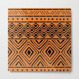 African Mud Cloth // Orange Metal Print